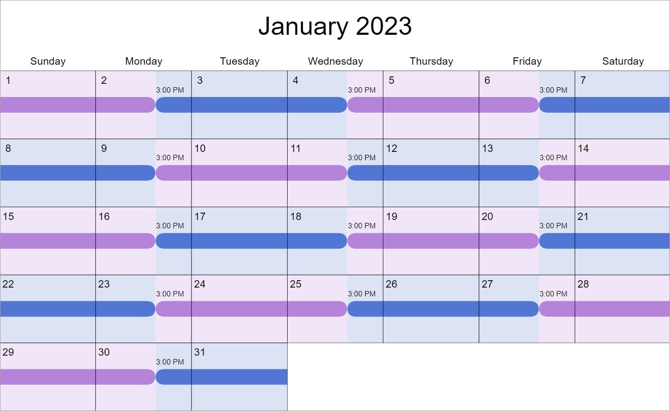 Shared Parenting Example Schedules — 2-2-3 And Alternating