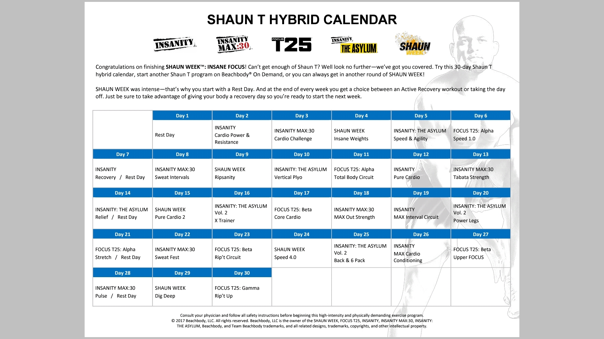 Shaun T Hip Hop Abs Schedule - Calendar Inspiration Design