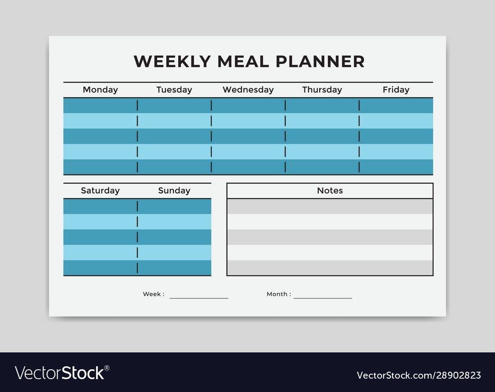 Simple Menu Meal Planner Weekly Grid Template