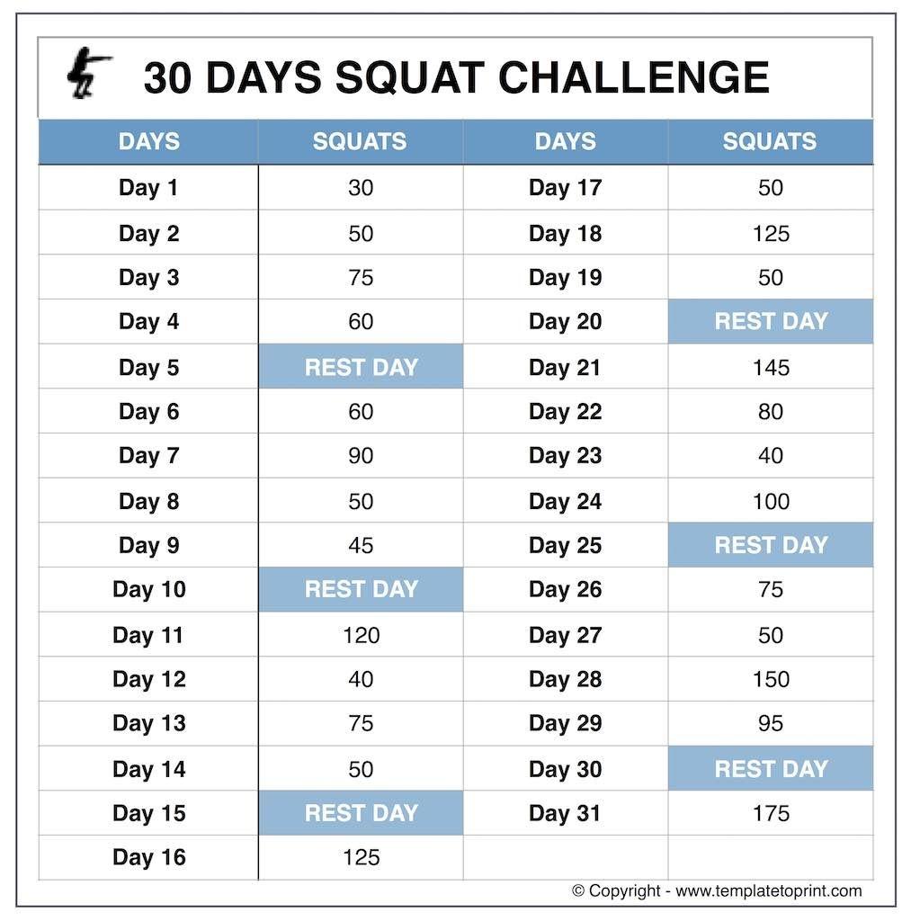 Squat Challenge Tumblr Image | Calendar | 30 Day Squat