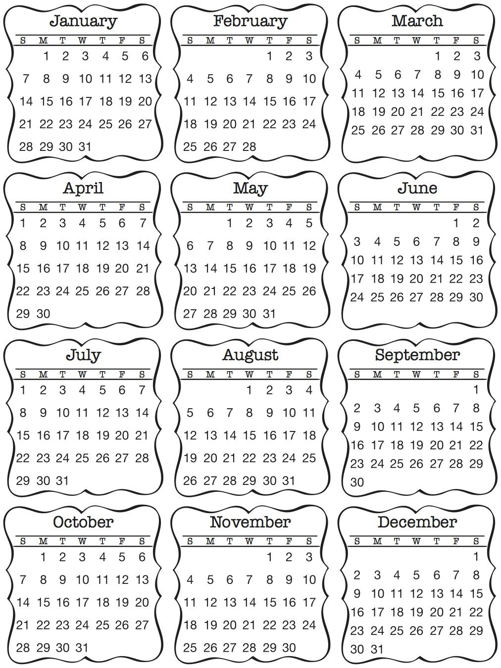 Srm48024-Discontinued:mini Calendar Sticker / Decorativ