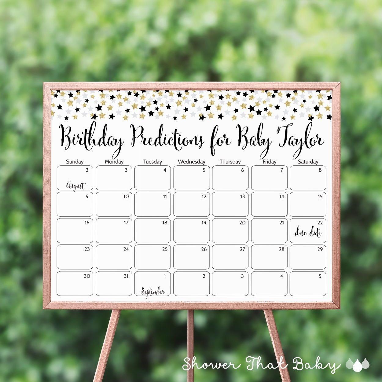 Star Baby Shower Birthday Predictions - Printable Baby