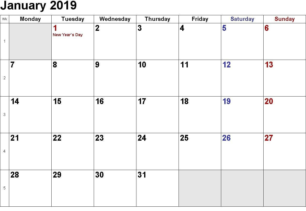 Take Monday Through Friday Blank Calendar 2019 Printable