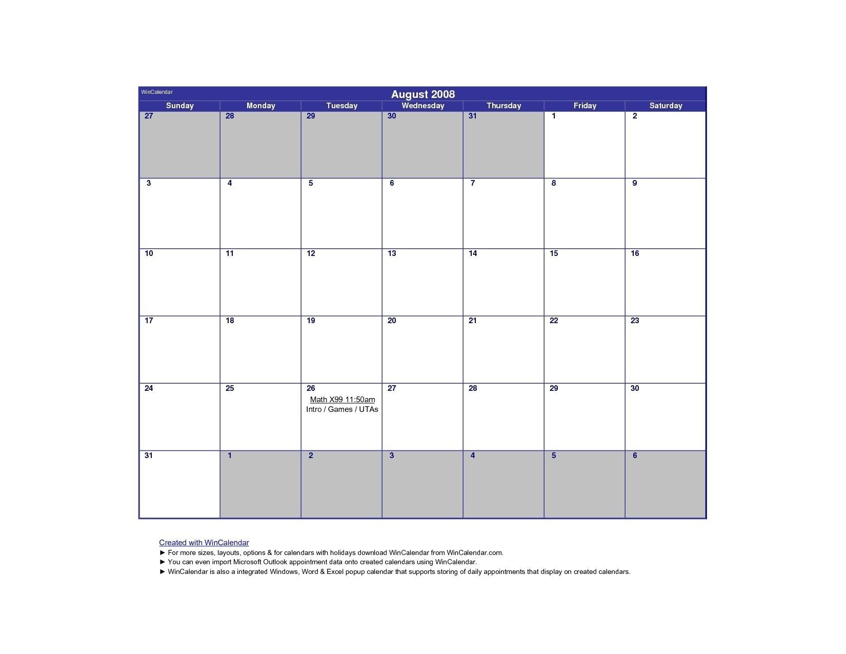 Take Win Calendar August 2019 Printable (With Images