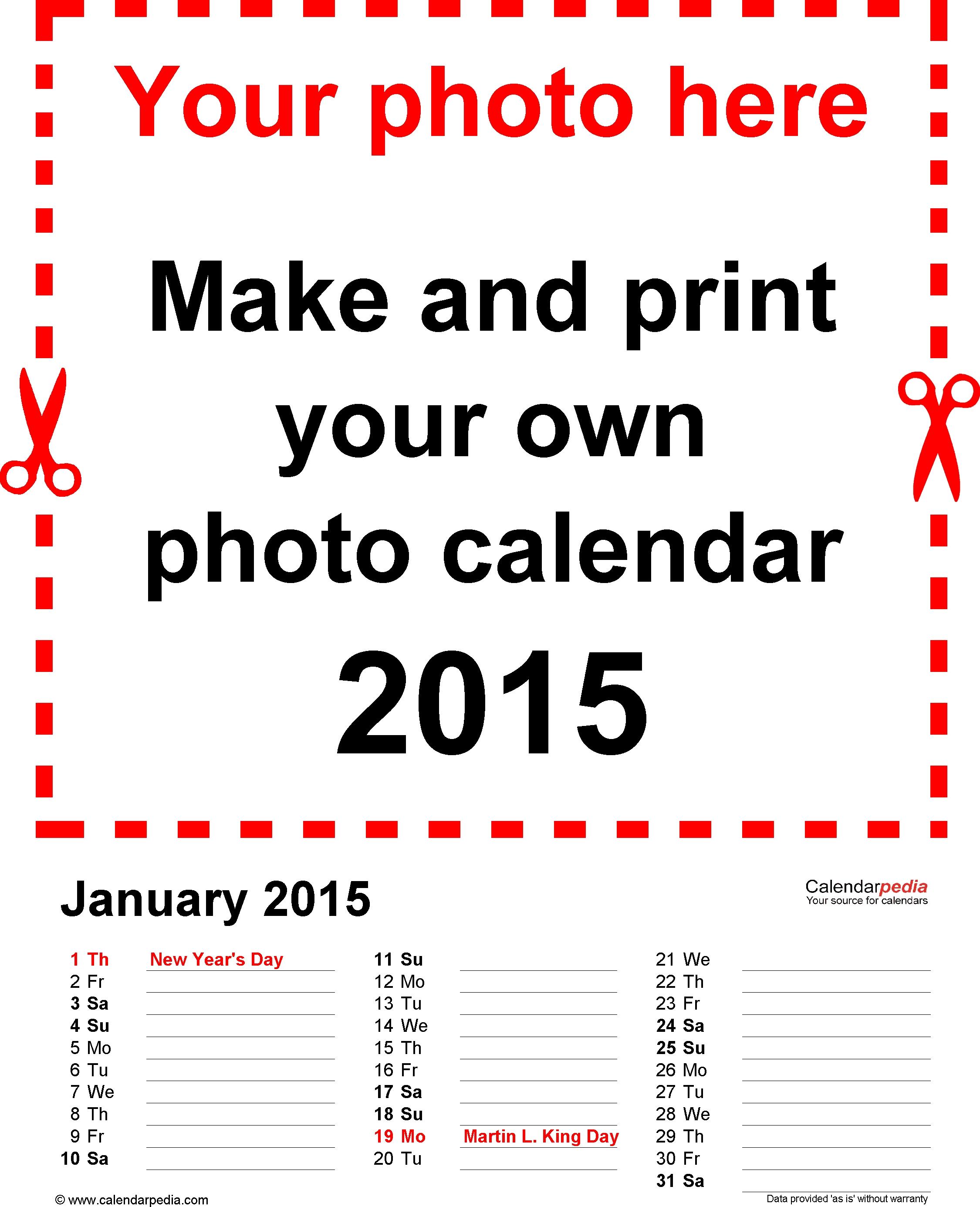 Template 3: Photo Calendar 2015 For Pdf, 12 Pages, Portrait