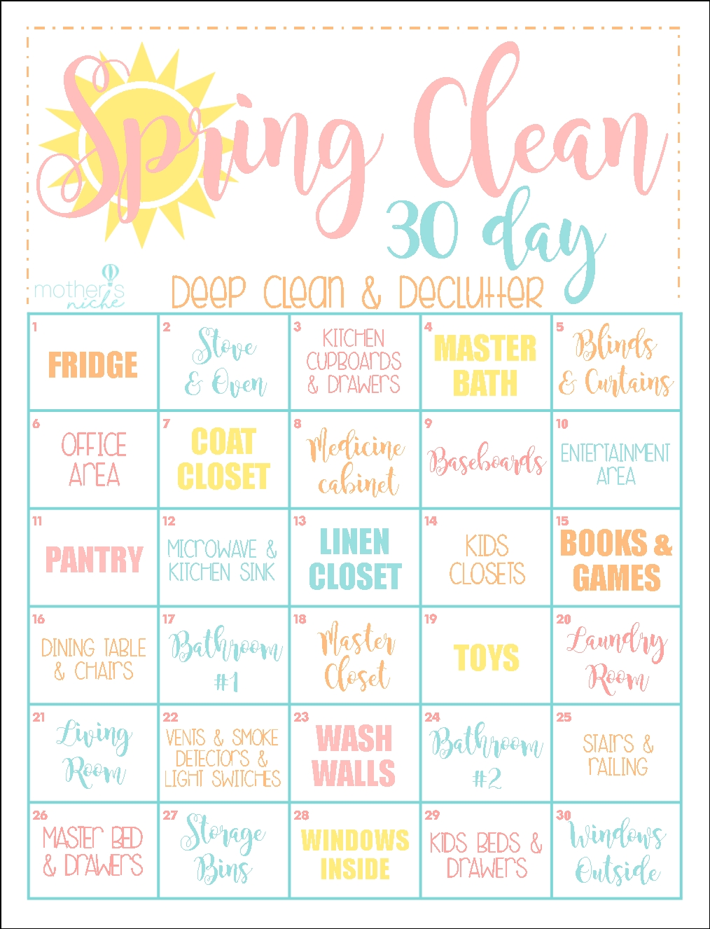 The 30 Day Clean Home Challenge: Spring Clean Up Printable