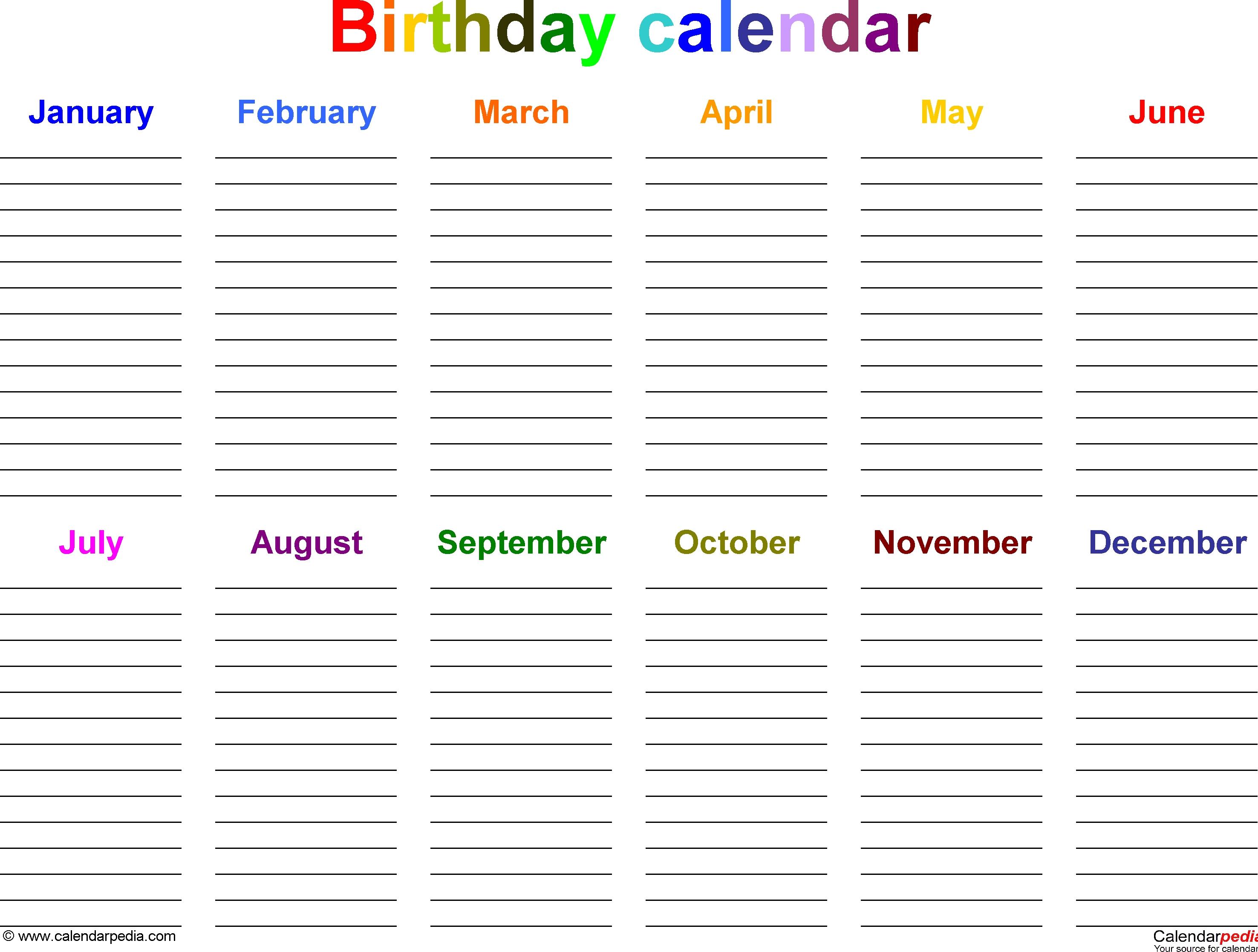 The Best Printable Birthday Calendar Template - Mitchell Blog