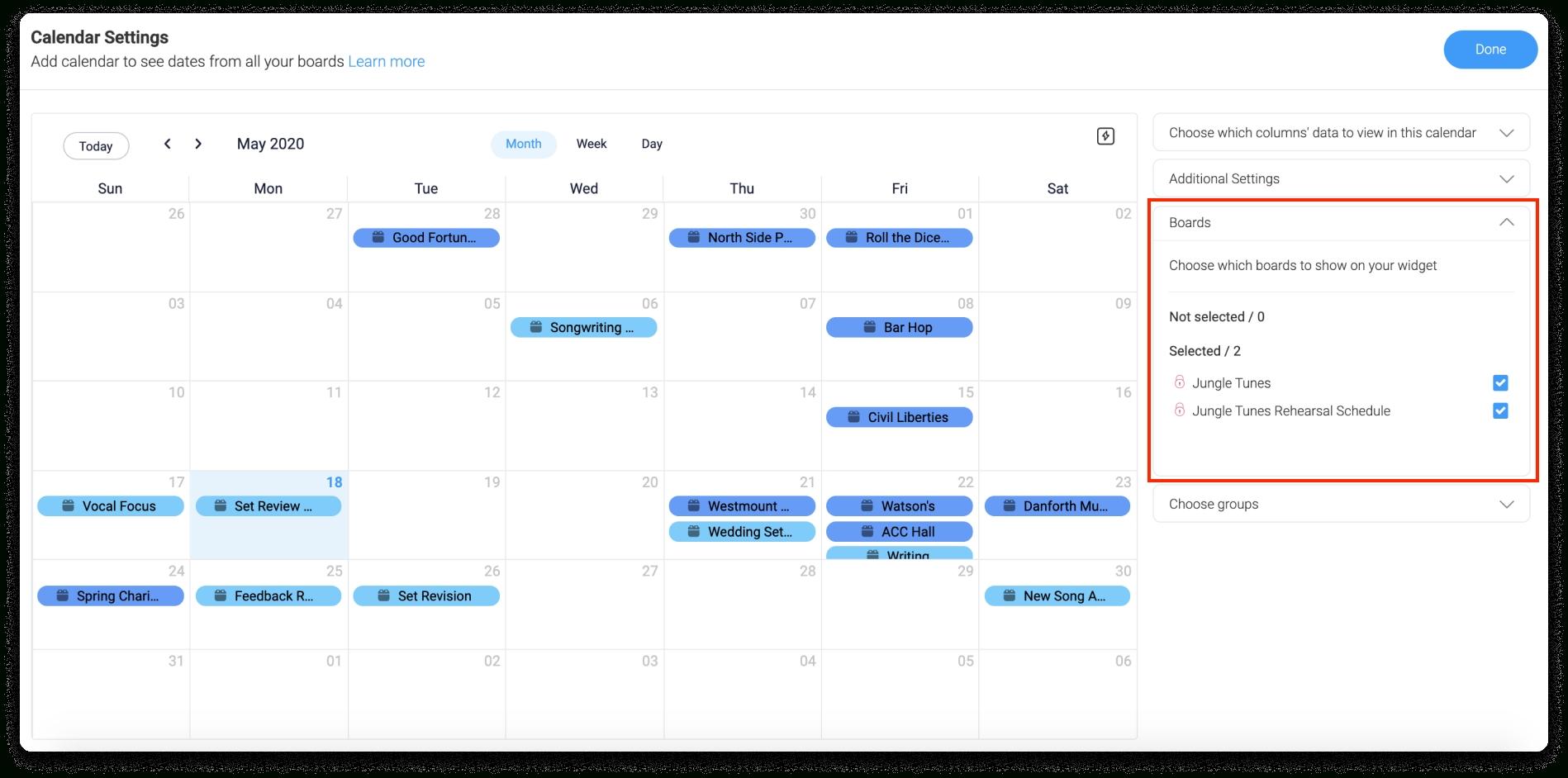 The Calendar Widget – Support