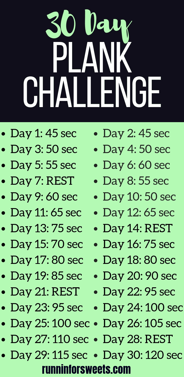 The Ultimate 30 Day Plank Challenge   Free Printable Chart