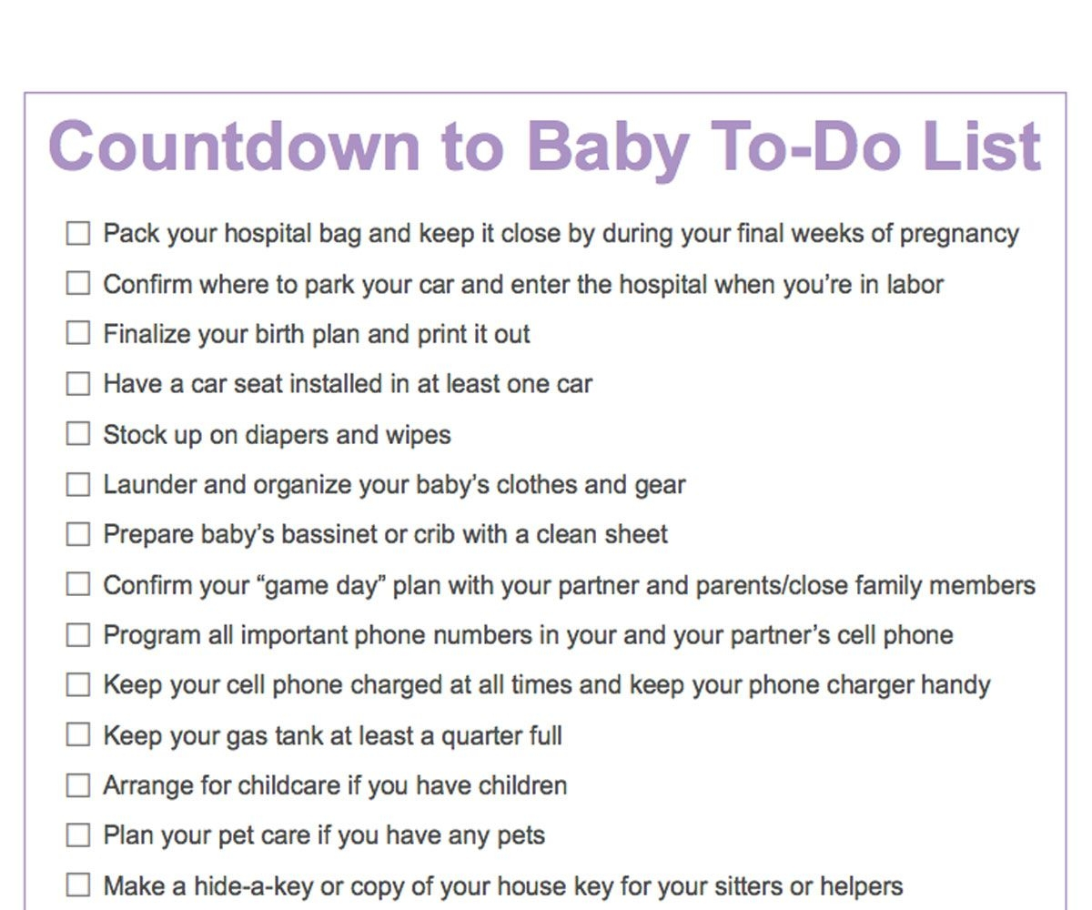 Third Trimester To-Do List | Countdown To Baby Printable
