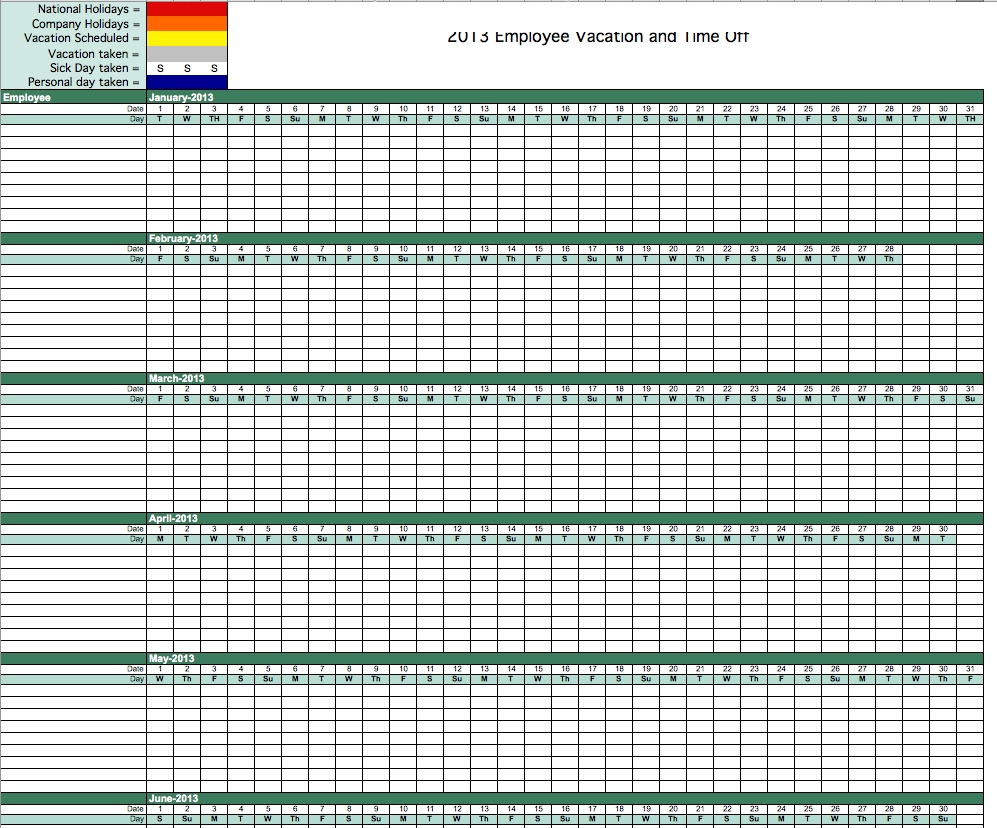 Time Off Tracking Spreadsheet Vacation Sick Tracker Cel Paid