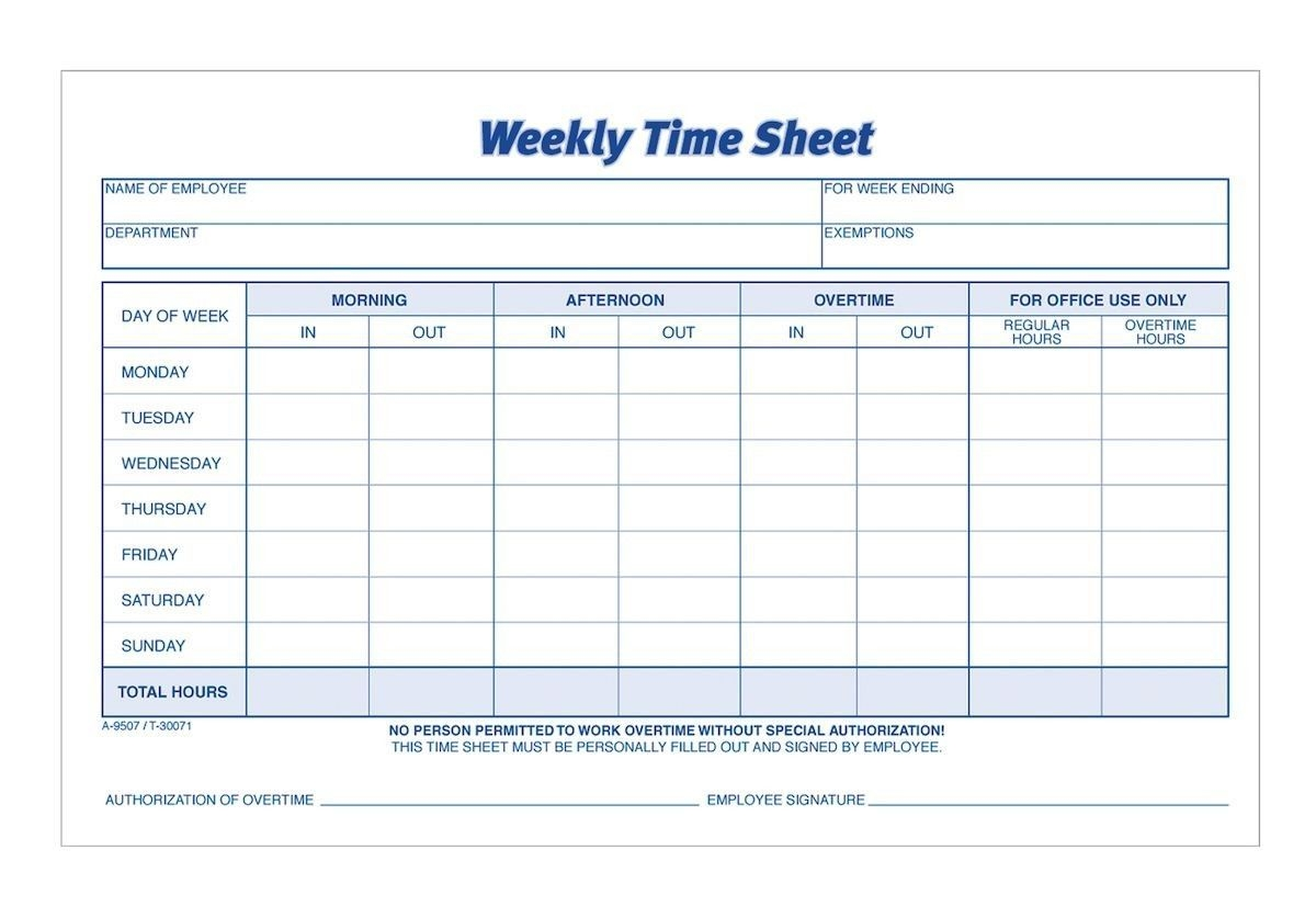 Time Sheet, Weekly, 2-Part, Carbonless, 100 St/pk | Time