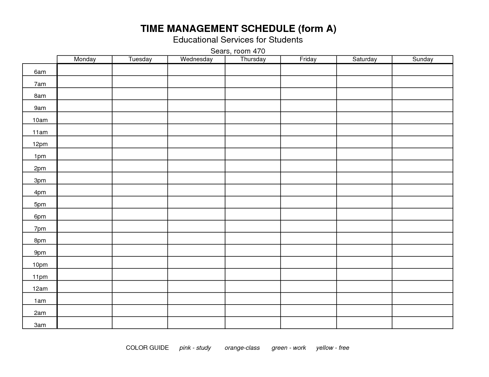 Time+Management+Schedule+Template | Time Management Plan