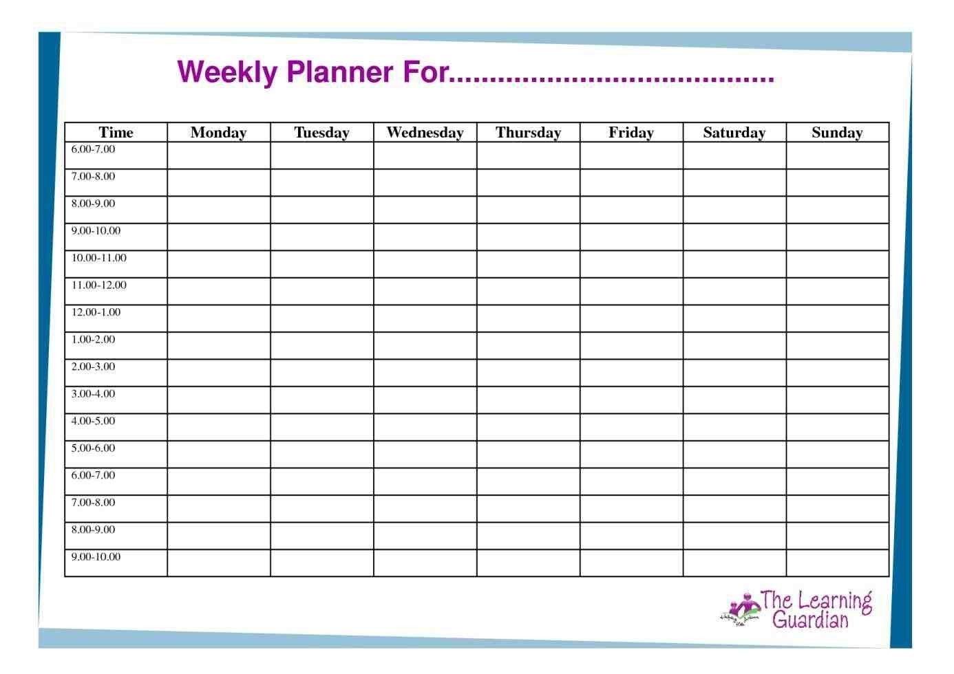 Top Hourly Calendar Printable - Mitchell Blog