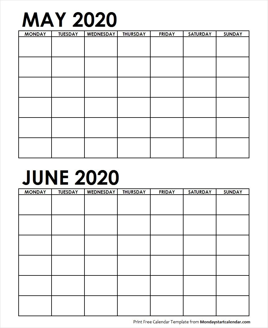 Two Month May June 2020 Calendar Blank | Two Months Template