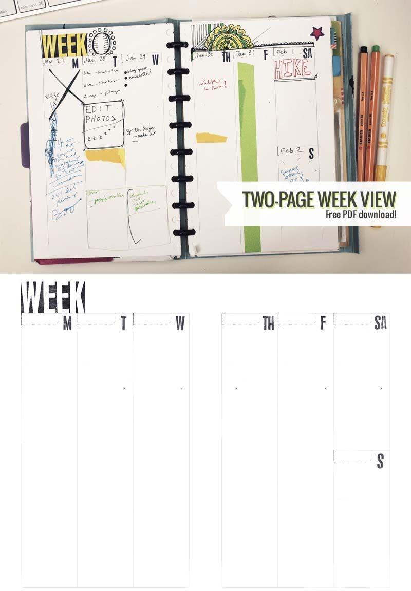 Two-Page Week, 5.5 X 8.5 – Diy Planner Template   Printable