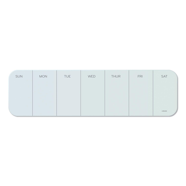 "U Brands Cubicle Glass Dry Erase One Week Calendar Board - 20"" X 5-1/2"" -  White"