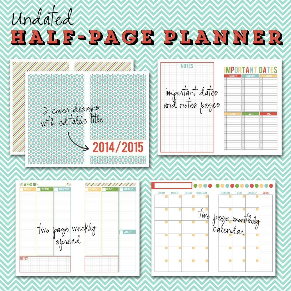 Undated Halfpage Printable Planner 5 1/2 X 8 1/2 By