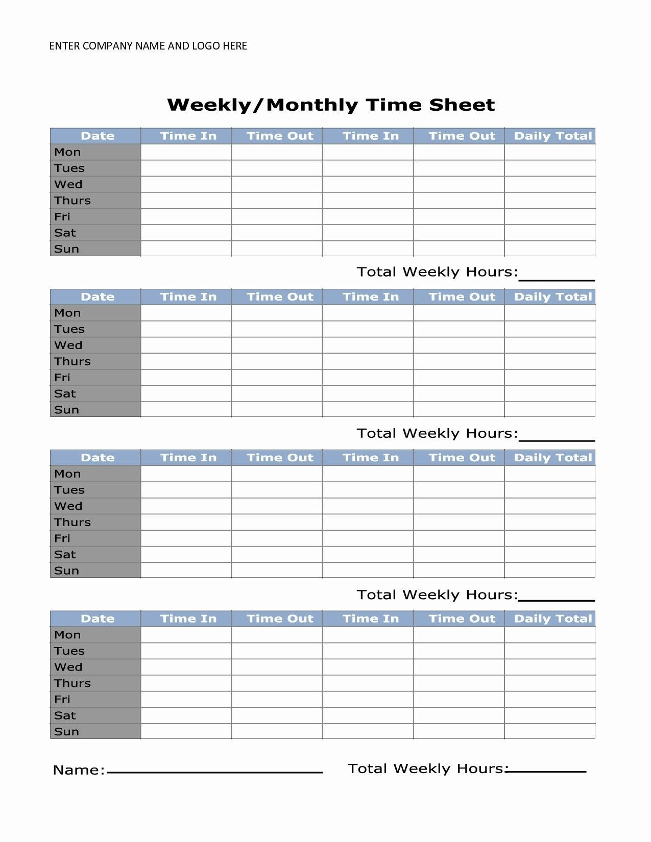 Unique Simple Time Card | Timesheet Template, Time Sheet