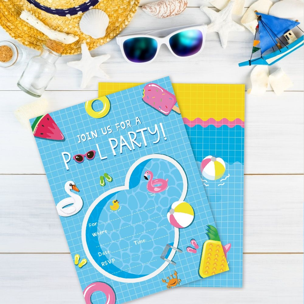 Us $4.99 40% Off|Summer Swimming Pool Party Invitations Cards Cartoon Pink  Flamingo Invitation Kids Birthday Party Favor Decorations|Cards &