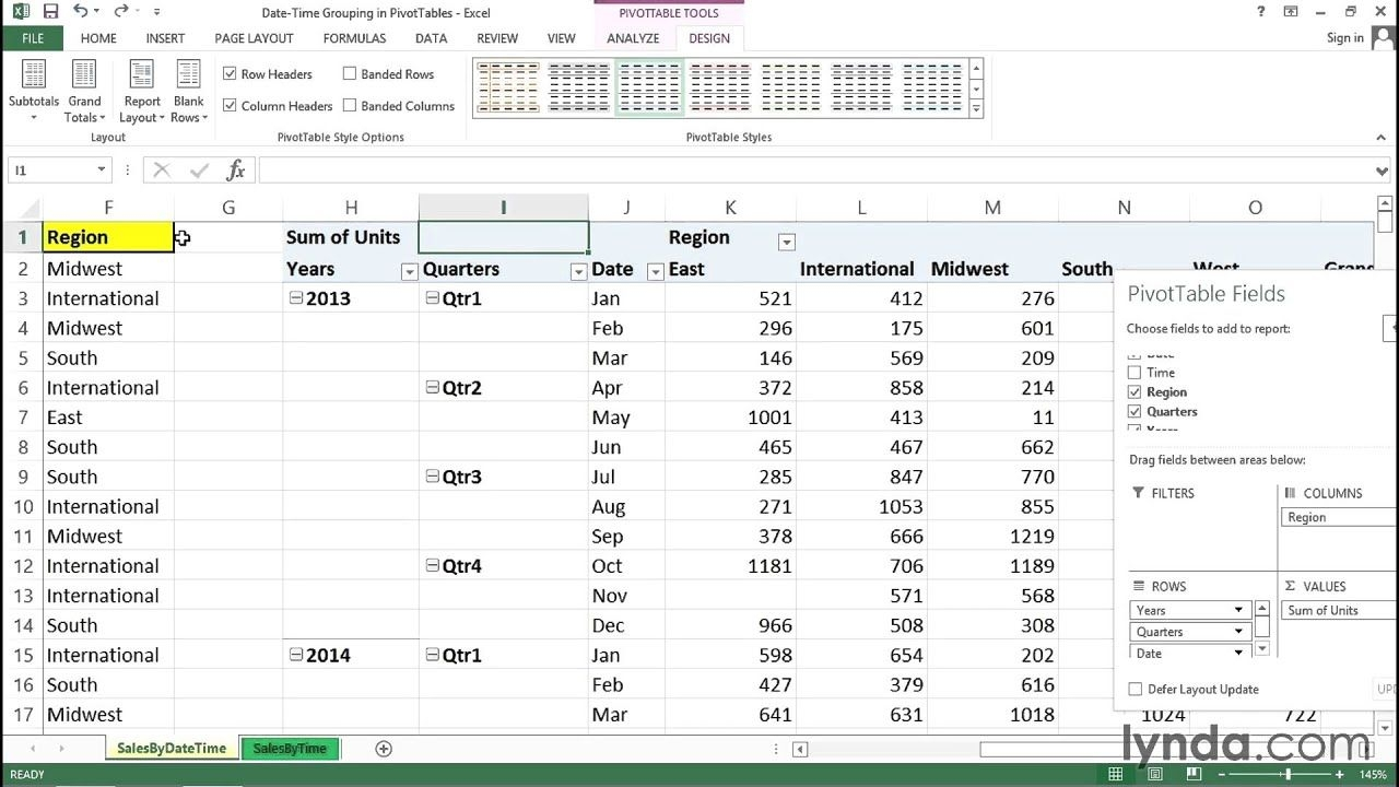 Using Date And Time As Metrics In A Pivottable | Excel Tips | Lynda