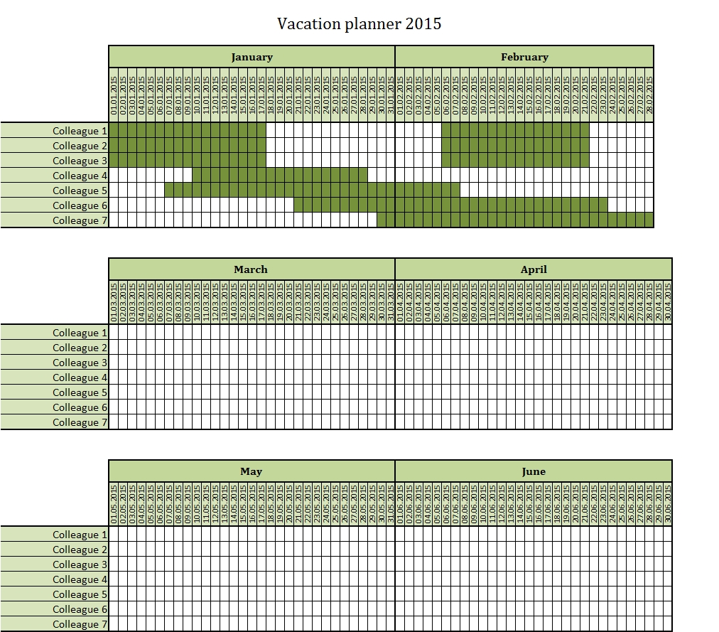 Vacation Planner 2015 Excel Template – Free To Download
