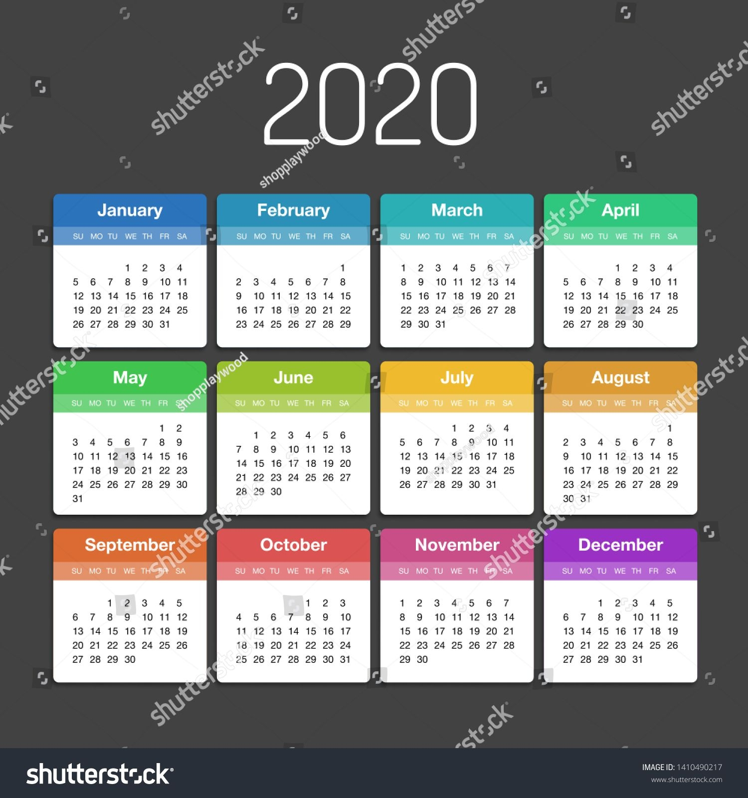 Vector Calendar 2020 Year Day Planner Stock Vector (Royalty