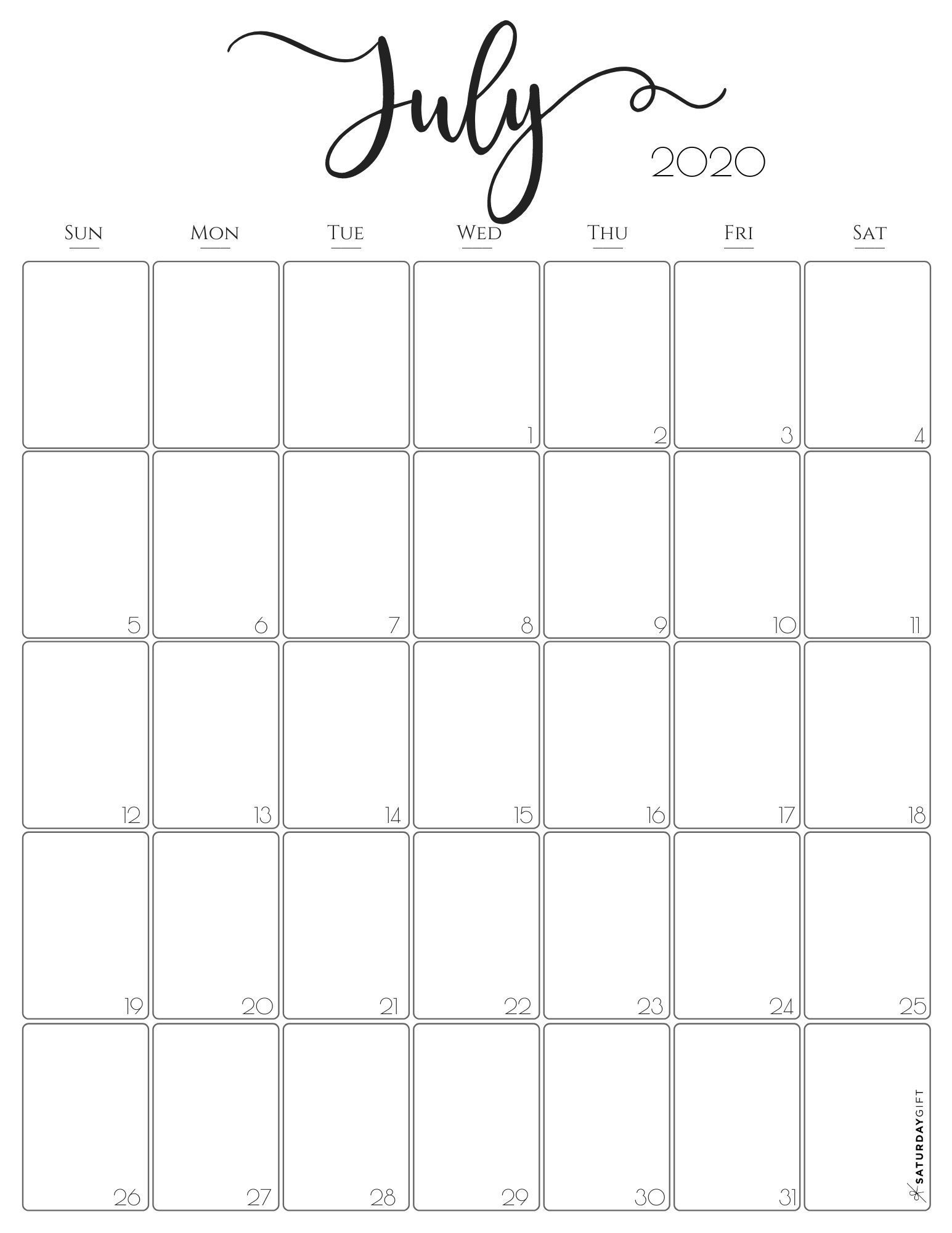 Vertical 2020 Monthly Calendar - Stylish (& Free
