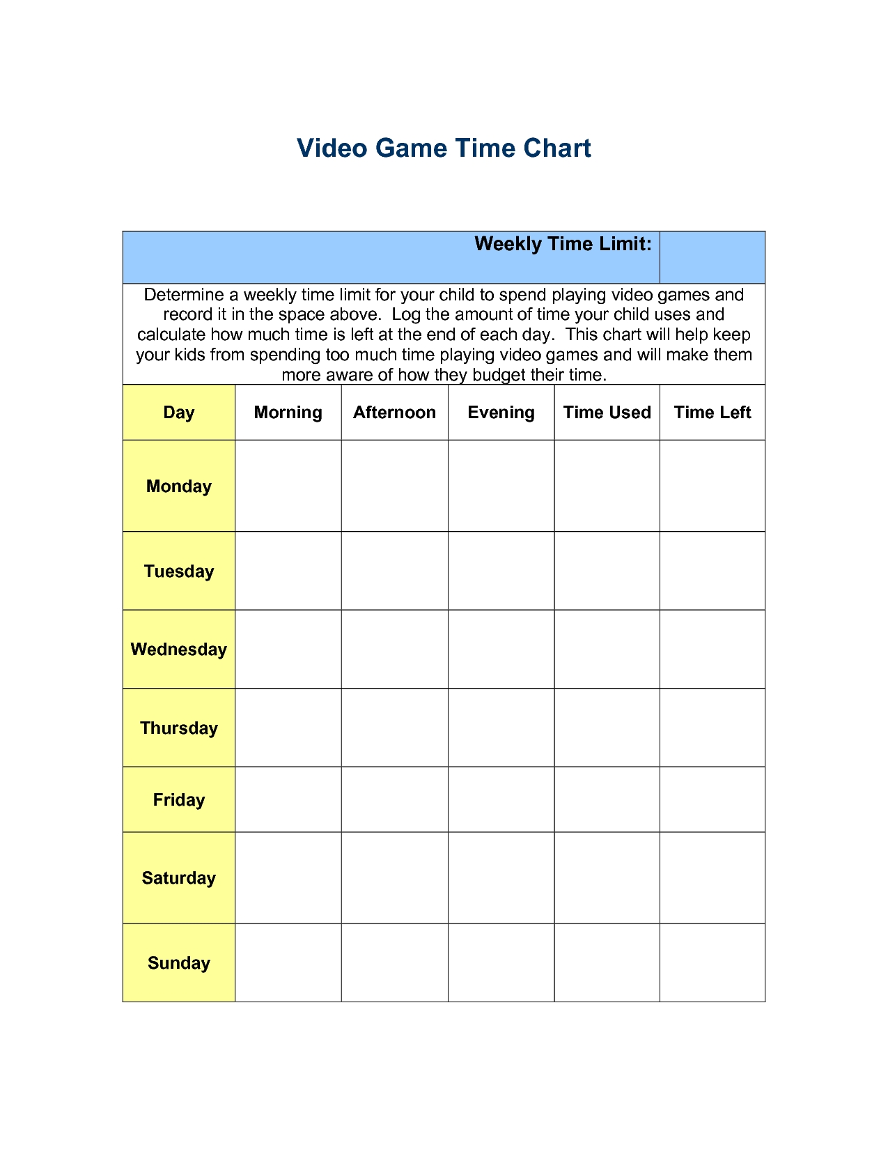 Video Game Time Chart (With Images) | Chores For Kids, Game