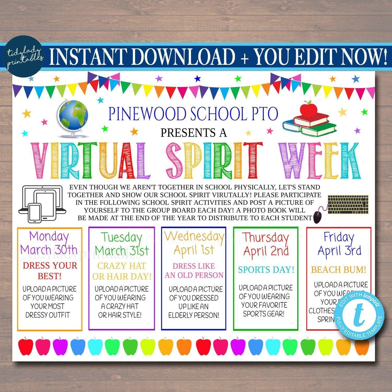 Virtual Spirit Week Itinerary Schedule, Daily Weekly