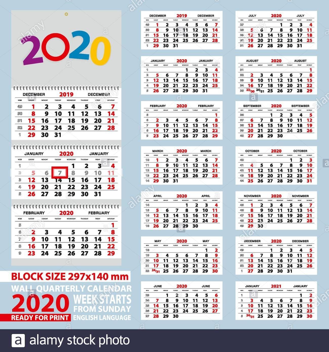 Wall Calendar 2020, Week Start From Sunday. Size A4, Block