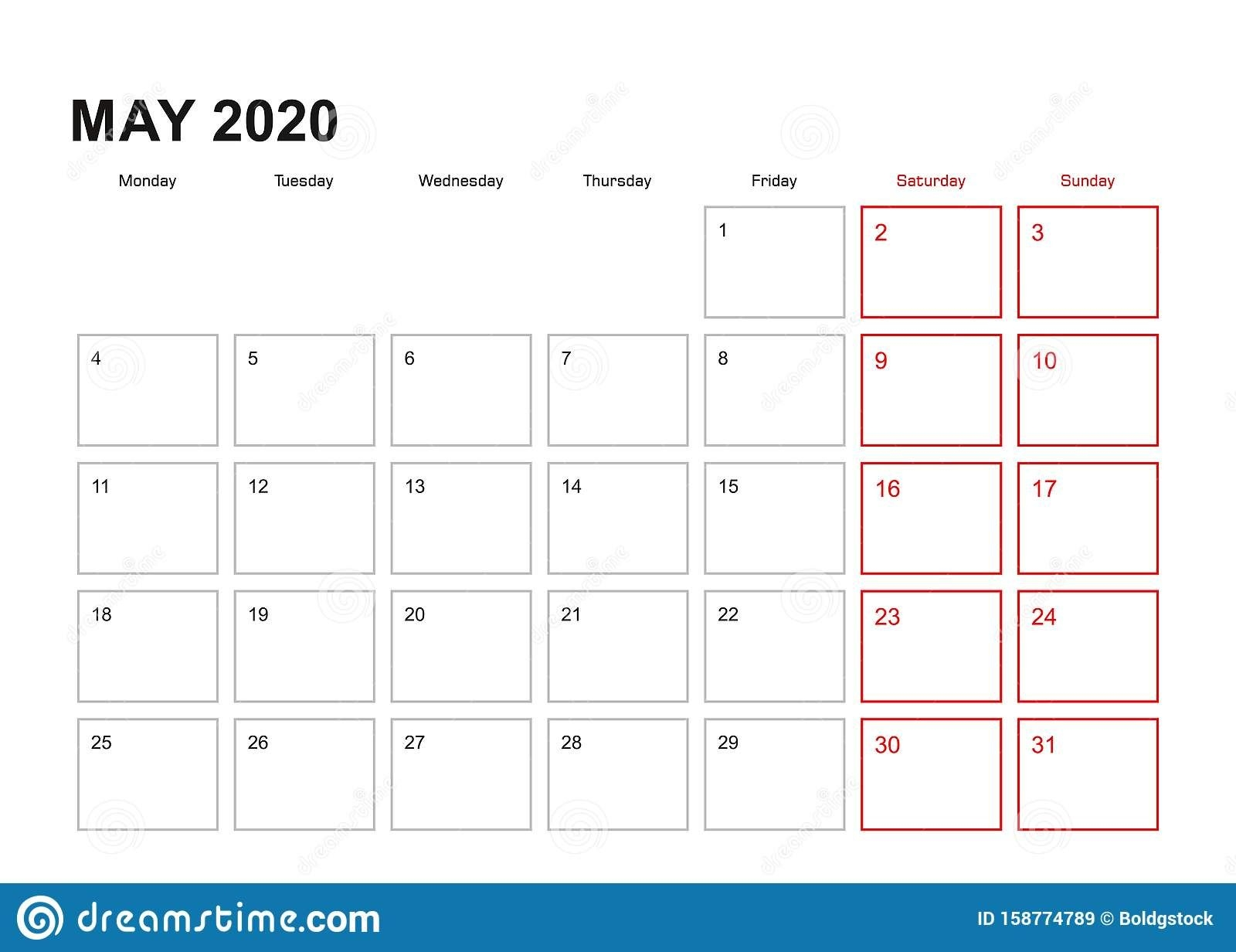 Wall Planner For May 2020 In English Language, Week Starts