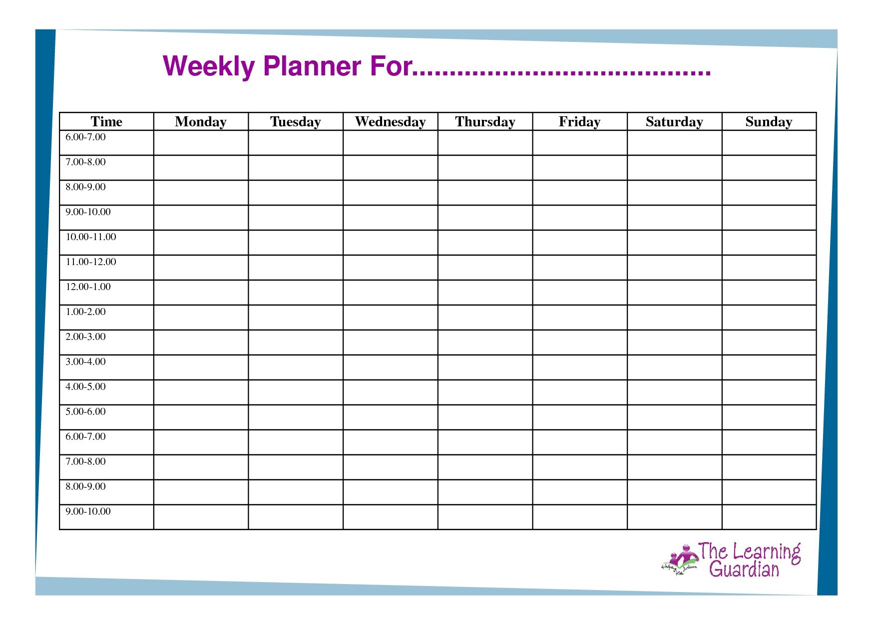 Weekly Agenda Planner Template ] - Weekly Planner Template