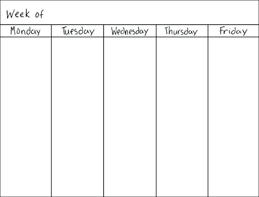 Weekly Blank Calendar Monday Through Friday - Calendar