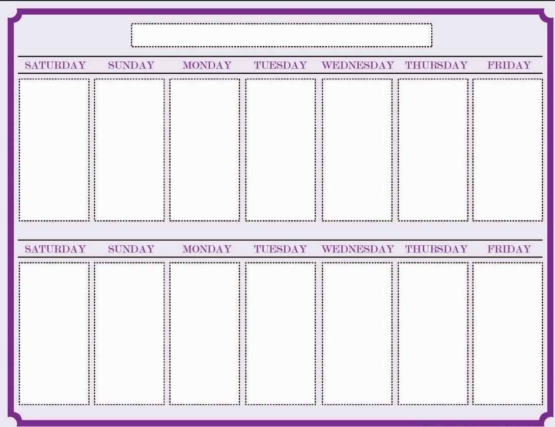 Weekly Blank Calendar Template | Blank Calendar Template