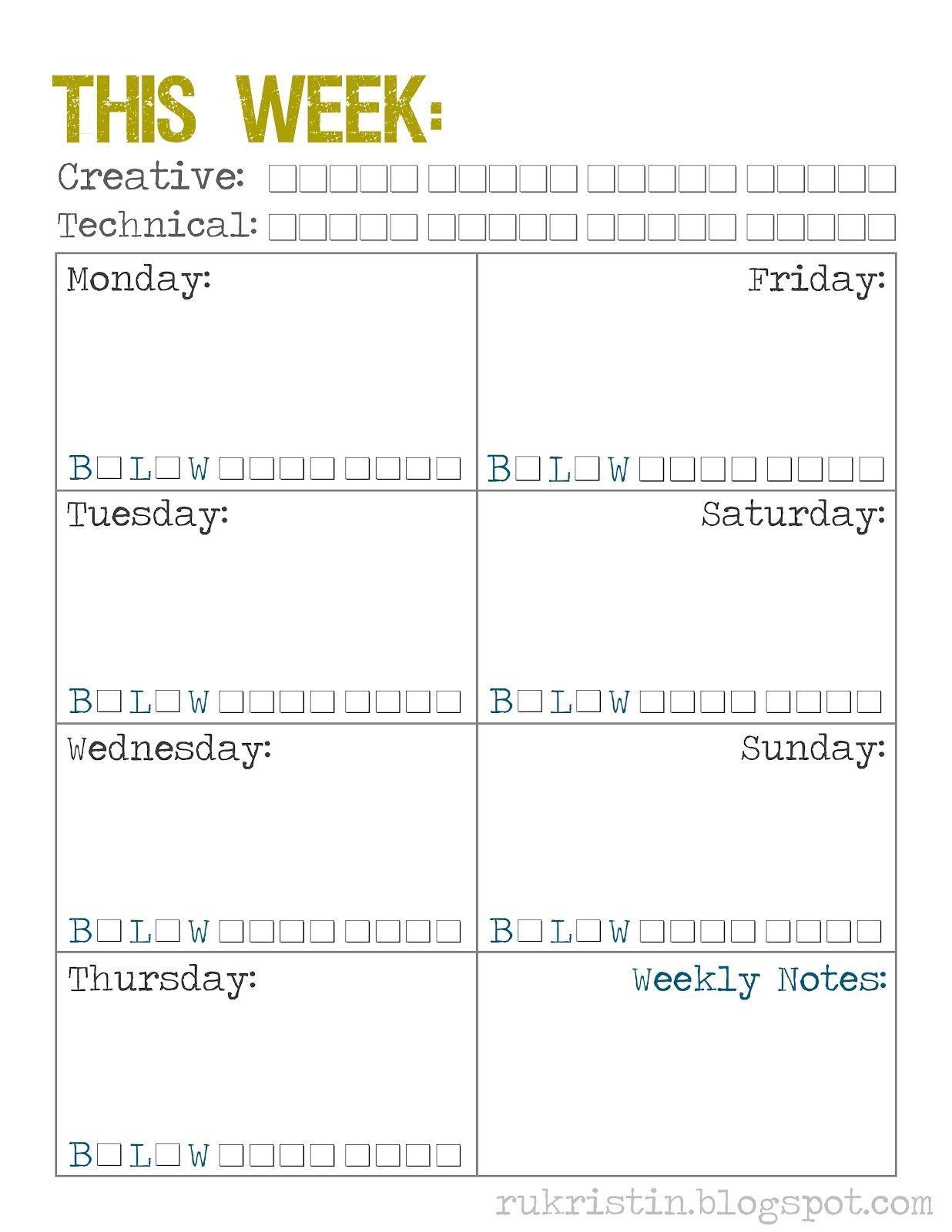 Weekly Calendar Template | Weekly Calendar Printable, Weekly