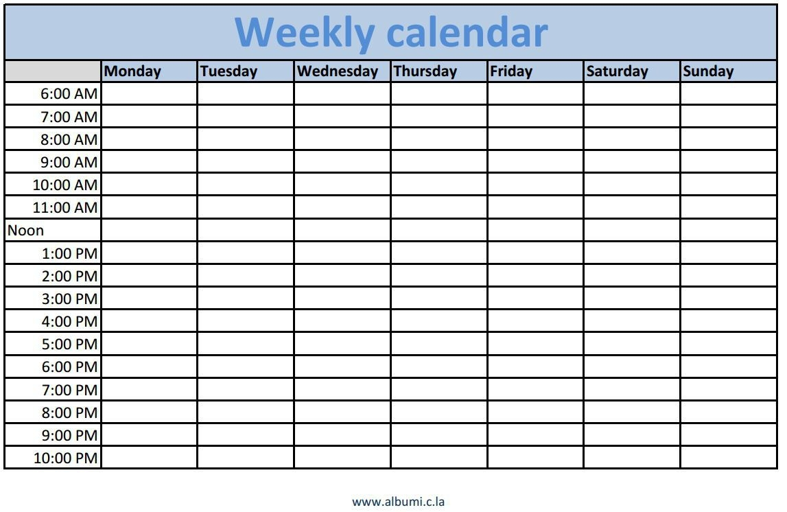 Weekly Calendar With Time Slots Excel – Printable Year Calendar