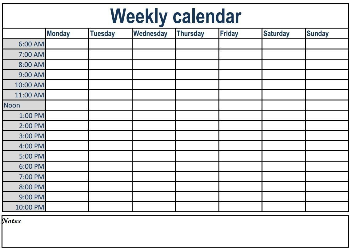 Weekly Calendar With Time Slots #weeklyplanner #calendars