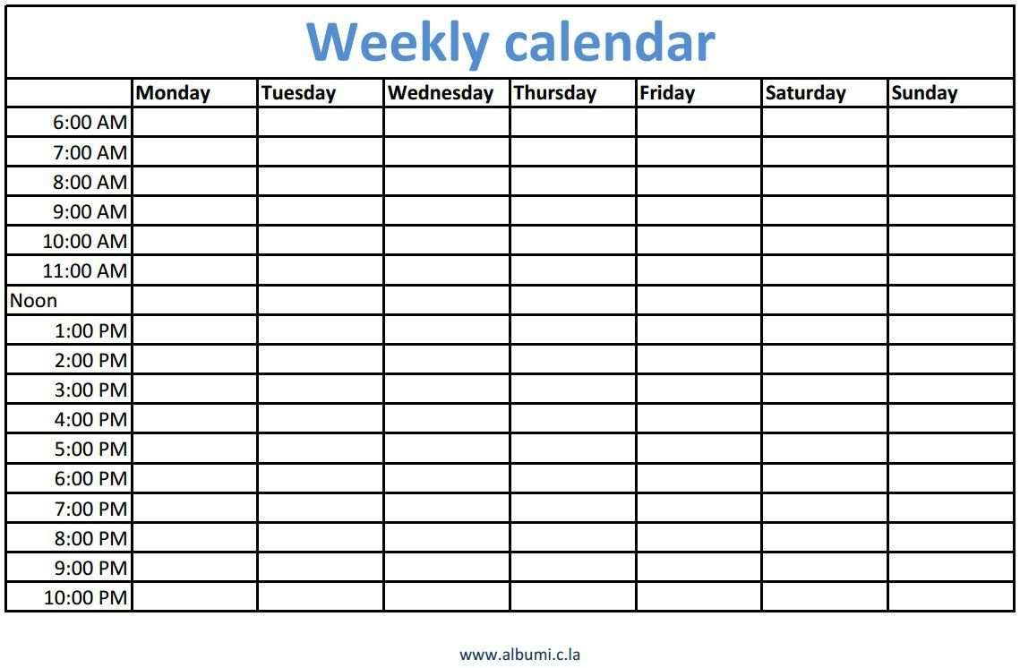 Weekly Calendars With Times Printable (With Images) | Blank