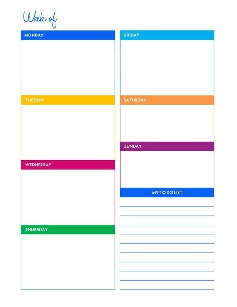 Weekly Portrait Blank Calendar Planner Printable - Instant