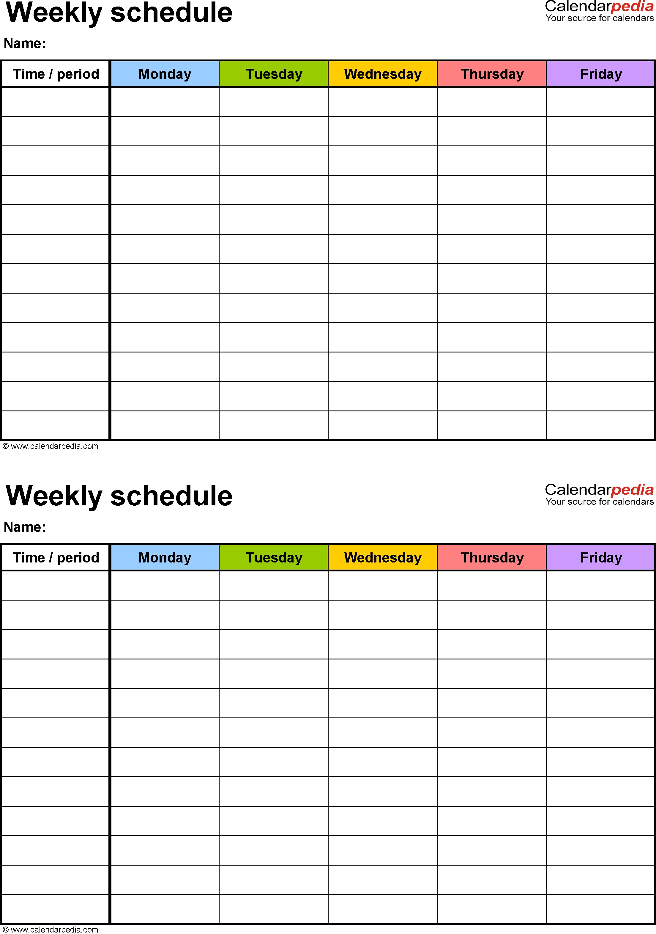 Weekly Schedule Template For Excel Version 3: 2 Schedules On
