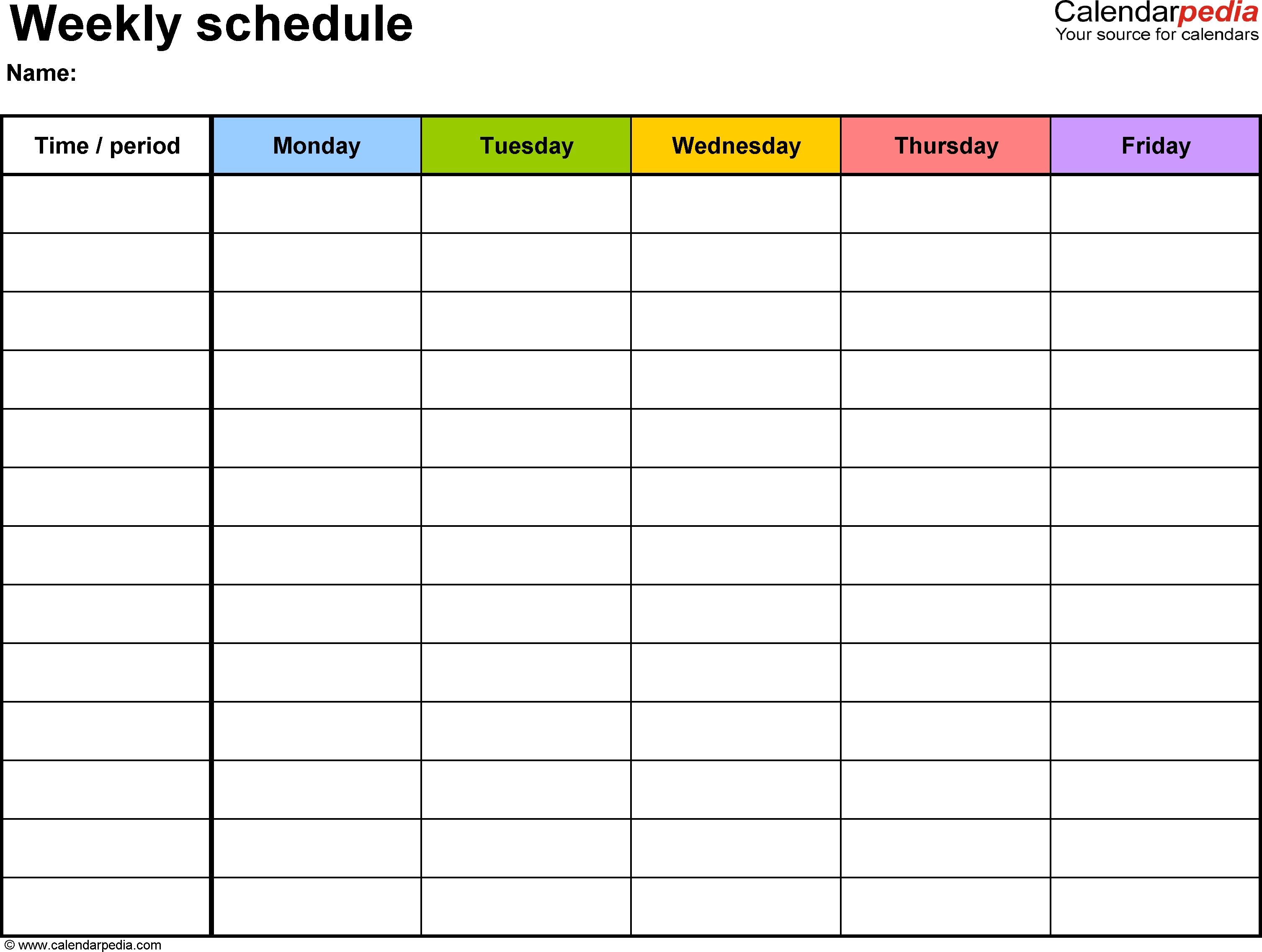 Weekly Schedule Template For Word Version 1: Landscape, 1