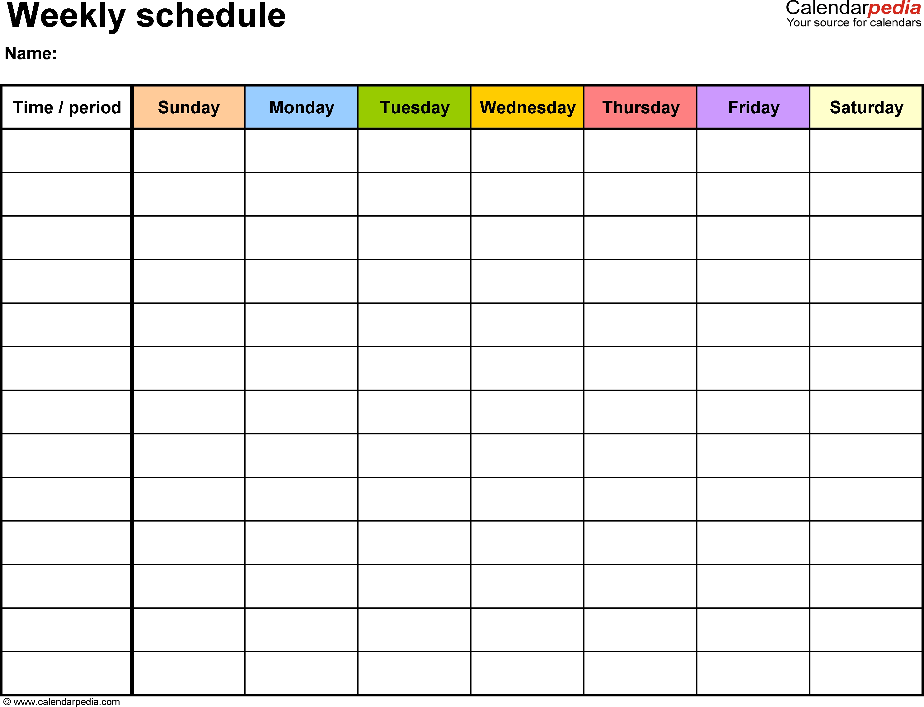 Weekly Schedule Template For Word Version 13: Landscape, 1
