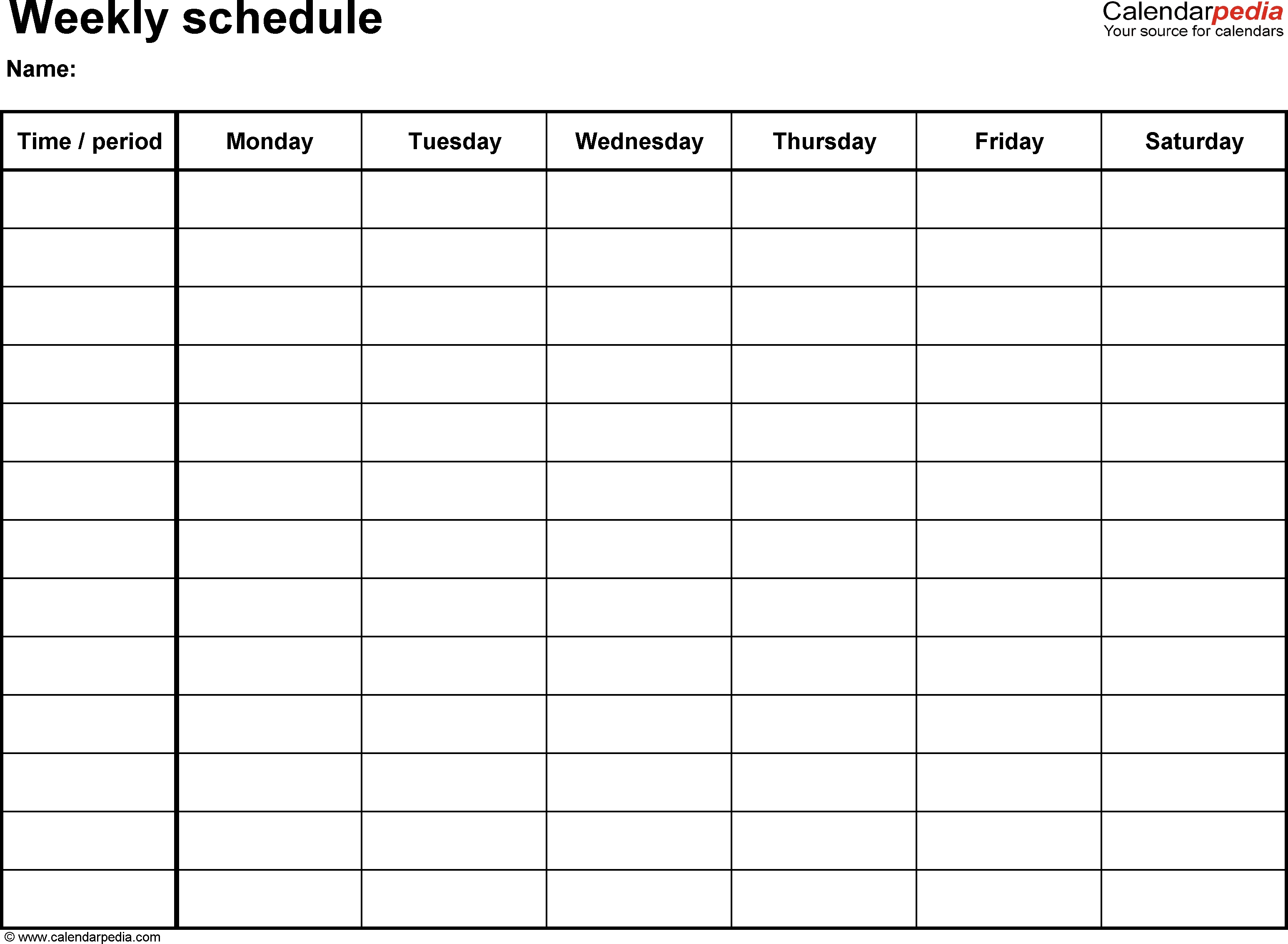 Weekly Schedule Template For Word Version 8: Landscape, 1