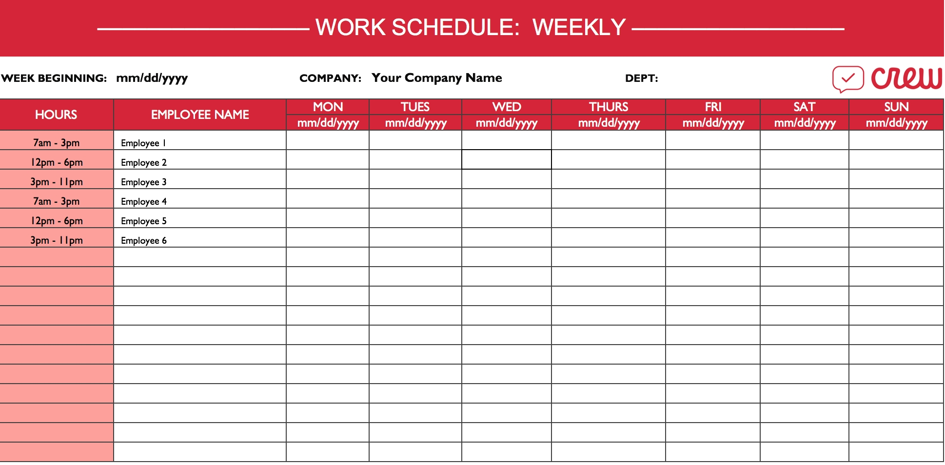 Weekly Work Schedule Template I Crew