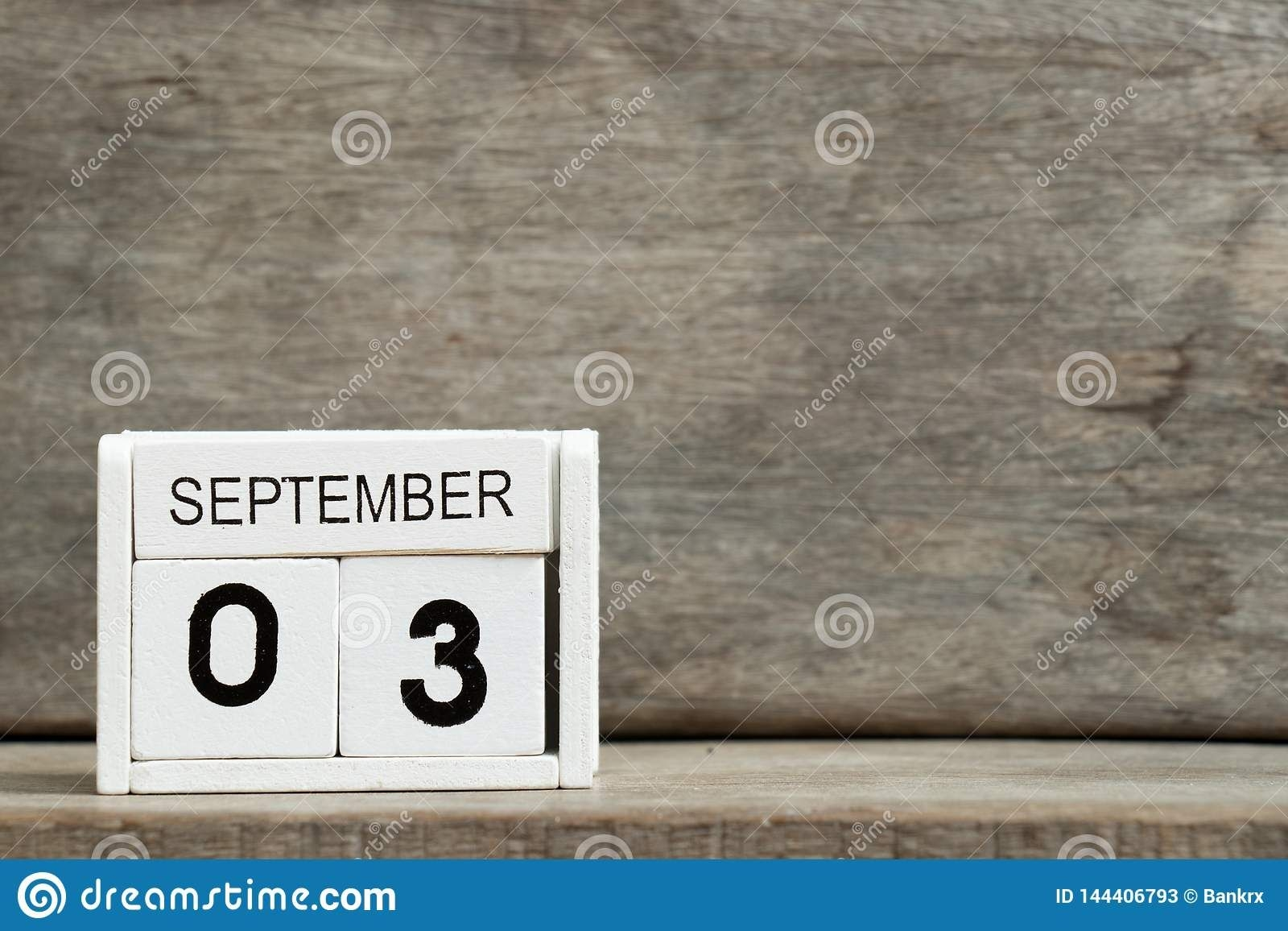 White Block Calendar Present Date 3 And Month September On