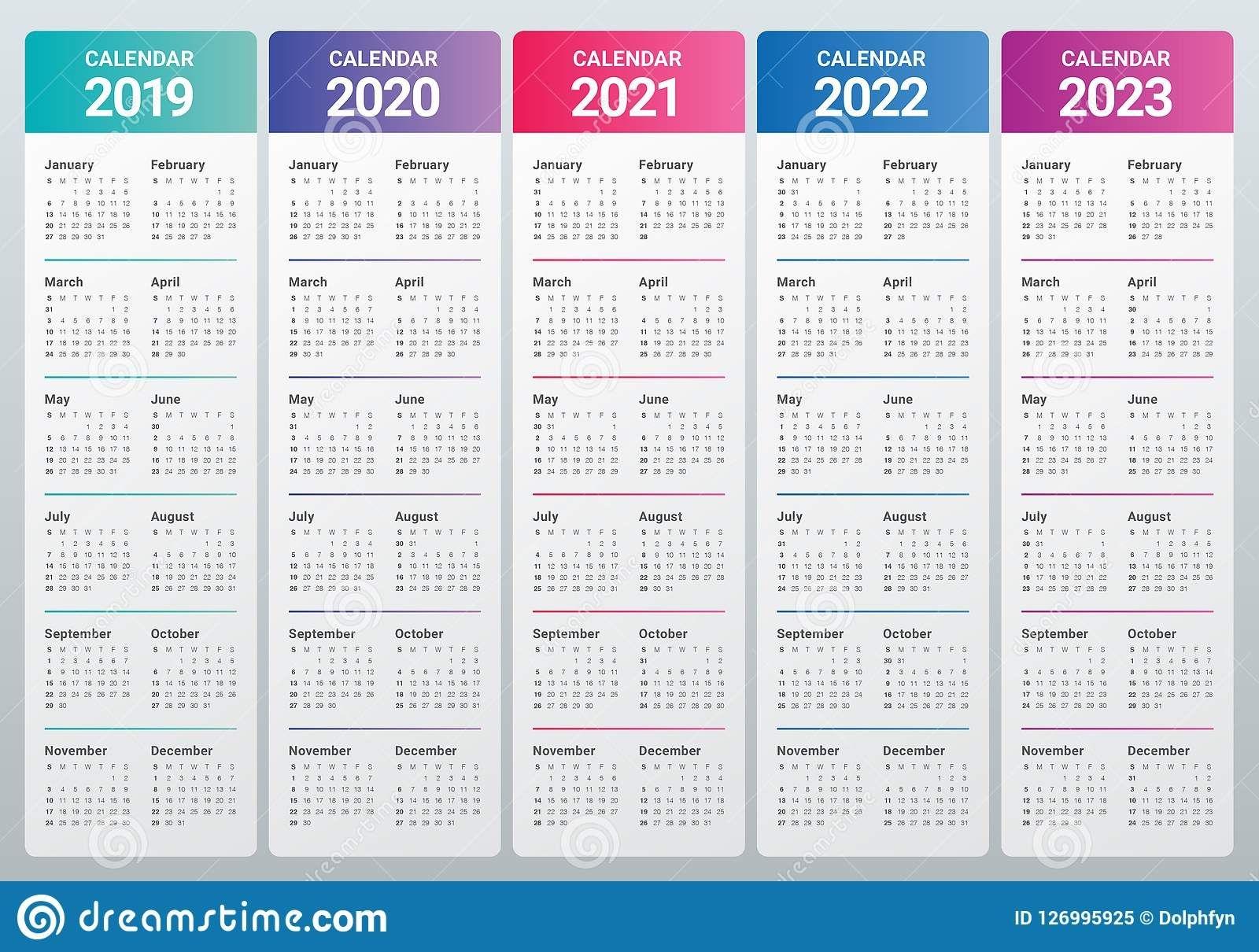 Year 2019 2020 2021 2022 2023 Calendar Vector Design