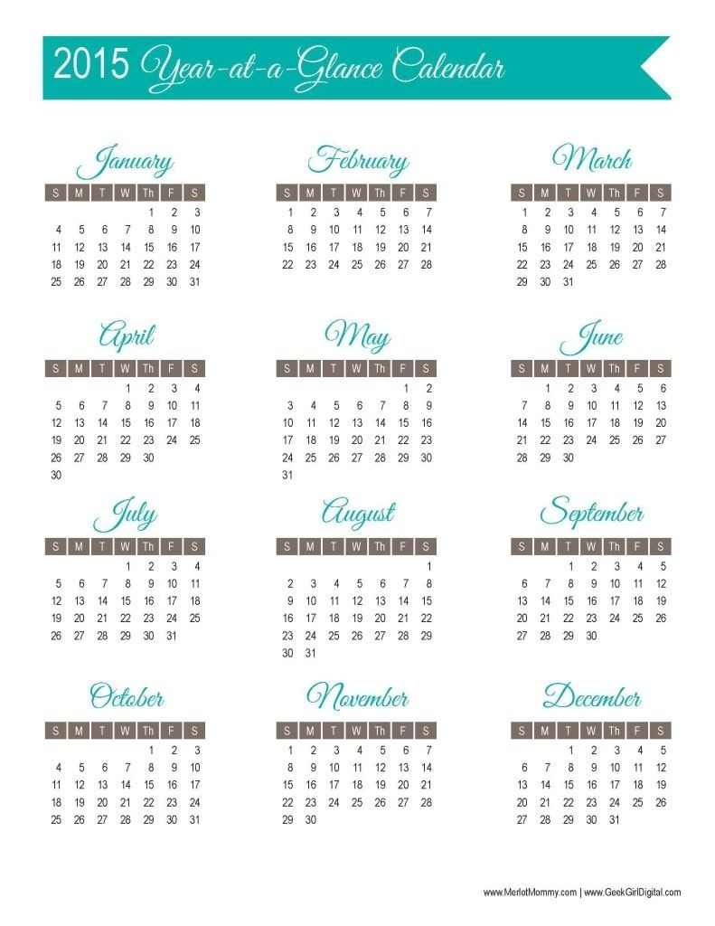 Year At A Glance Calendar Printable