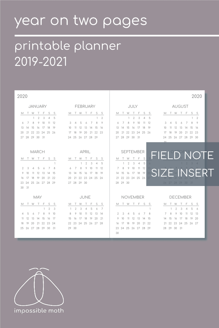 Year Calendar On 2 Pages (2019-2021) - 90 X 140 Mm (Field
