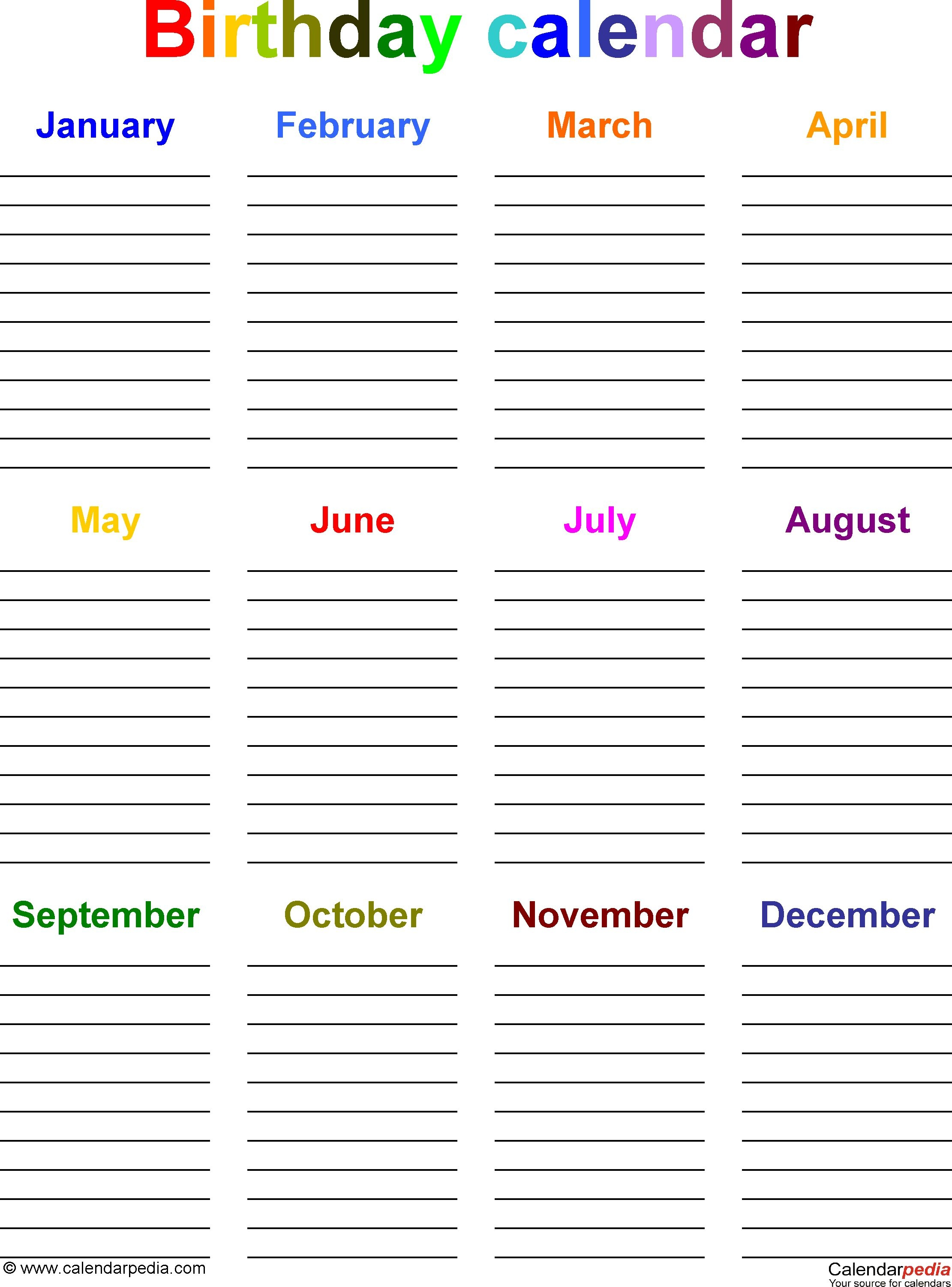 Yearly Birthday Calendar | Templates Free Printable